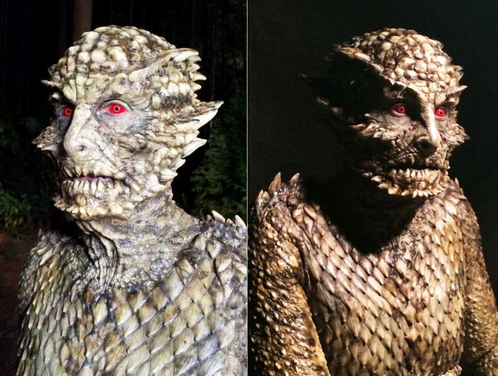Фото 1, 2: Человек-ящерица в том виде, как он появляется в мини-сериале.